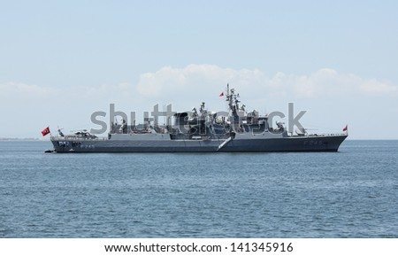 IZMIR, TURKEY - MAY 25: Turkish military ship standing in the Aegean sea on May 25, 2013 in Izmir bay
