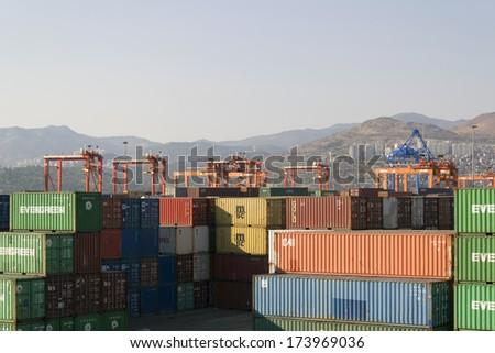 IZMIR, TURKEY - October 10 : Izmir port at Alsancak on October 10, 2013 in Izmir. Izmir port of is the largest national and international ports of Turkey. - stock photo