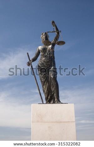 Izmir, Turkey - September 9, 2015: Justice sculpture photo from inciralti izmir. - stock photo