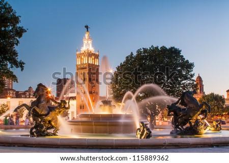 J.C. Nichols Memorial Fountain, by Henri-Leon Greber in Kansas City Missouri - stock photo
