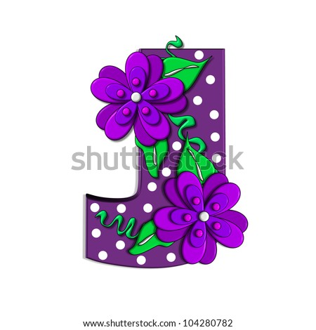 """J, in the alphabet set """"Clinging Vine"""", is decorated with mod flowers in three layers.  Letters are purple and vines and leaves are mint green. - stock photo"""