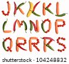 J-K-L-M-N-O-P-Q-R-S alphabet letters made with fresh vegetables on the white background (isolated on white).  Make your own words in vegetables (tomato, pepper, carrot). Every letter X large size - stock photo