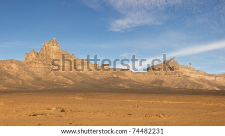 Jabal Idinin, Akakus (Acacus) Mountains, Sahara, Libya - Panoramic View - stock photo