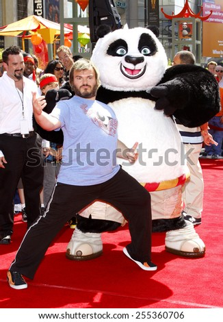 "Jack Black attends the Los Angeles Premiere of ""Kung Fu Panda"" held at the Grauman's Chinese Theater in Hollywood, California, United States on June 1, 2008.  - stock photo"