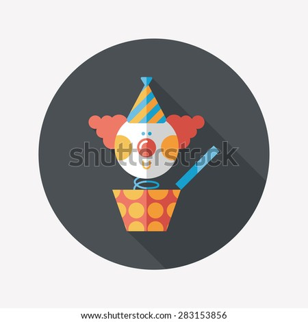 Jack in the box flat icon with long shadow - stock photo