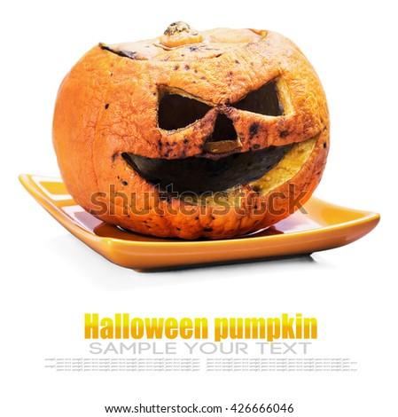 Jack lantern pumpkin for Halloween isolated on a white background. Tex example - stock photo