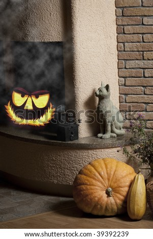 Jack o' lantern hiding in the fireplace