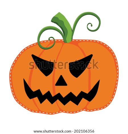 Jack o lantern or carved pumpkin on an isolated white background  - stock photo