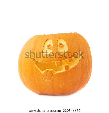 Jack-o'-lanterns orange halloween pumpkin head with the happy smiling facial expression carved on it, isolated over the white background - stock photo