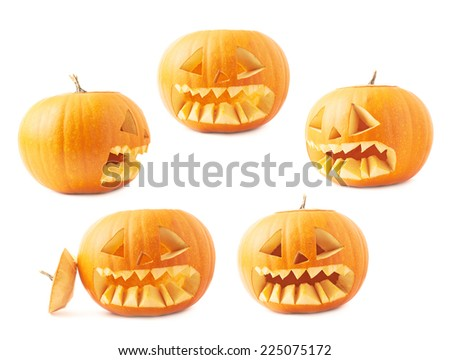 Jack-o'-lanterns orange halloween pumpkin head with the sharp teeth and scary facial expression, isolated over the white background, set of five foreshortenings - stock photo