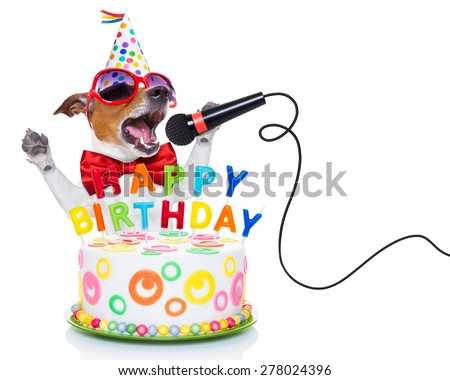 jack russell dog  as a surprise, singing birthday song  like karaoke with microphone ,behind funny cake,  wearing  red tie and party hat  , isolated on white background - stock photo
