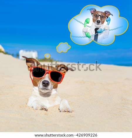 jack russell dog  buried in the sand at the beach on summer vacation holidays , wearing red sunglasses thinking of work - stock photo