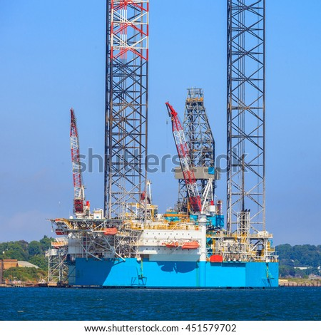 Jack up oil drilling rig in the shipyard for maintenance in Dundee, Scotland, UK