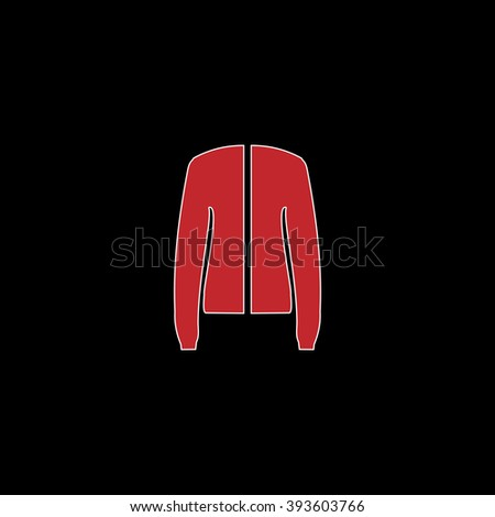 Jacket. flat symbol pictogram on black background. red simple icon with white stroke - stock photo