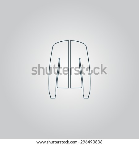 Jacket. Flat web icon, sign or button isolated on grey background. Collection modern trend concept design style  illustration symbol - stock photo