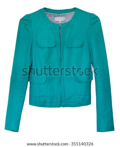 Jacket isolated female,green.Outerwear.