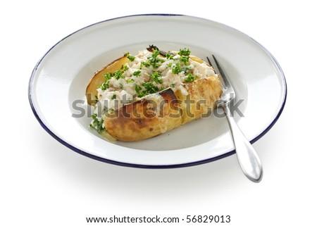 Jacket Potato , Baked Potato with Tuna mayonnaise - stock photo