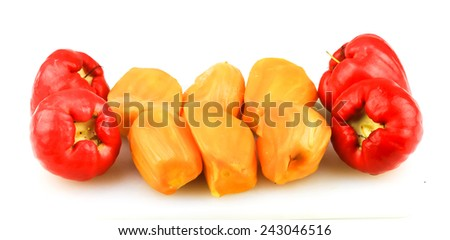 Jackfruit flesh and water apples isolated - stock photo