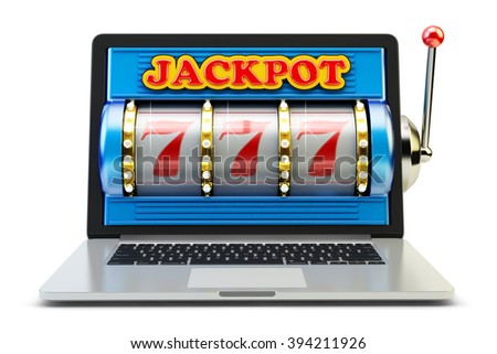 Jackpot, gambling gain, luck and success concept, casino app, laptop computer with slot machine with winning event isolated on white - stock photo