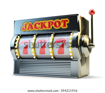 Jackpot, gambling gain, luck and success concept, casino slot machine with winning event isolated on white - stock photo