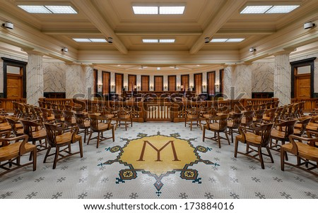 JACKSON, MISSISSIPPI   JANUARY 13: Supreme Court Chamber Of The Mississippi  State Capitol Building