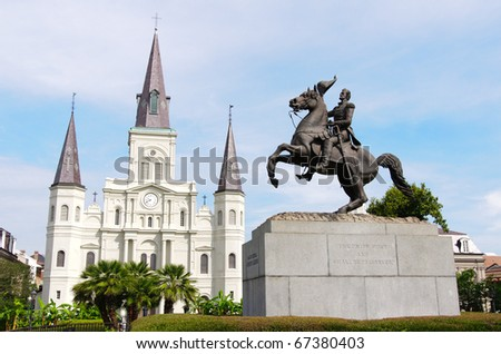 Jackson Square and Saint Louis Cathedral - stock photo