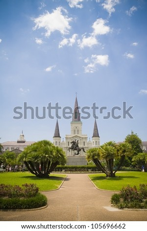 Jackson Square and Saint Louis Cathedral, New Orleans - stock photo