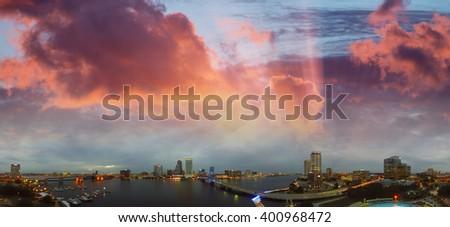 Jacksonville aerial panoramic view at dusk, Florida. - stock photo