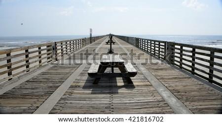 Jacksonville Beach Florida fishing pier - stock photo