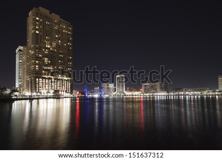 Jacksonville city skyline by night, Florida, USA. - stock photo