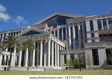 JACKSONVILLE, FL - APRIL 13, 2014: The new Duval County Courthouse in Jacksonville. Construction for the new courthouse began in 2009 and was completed in 2012. - stock photo