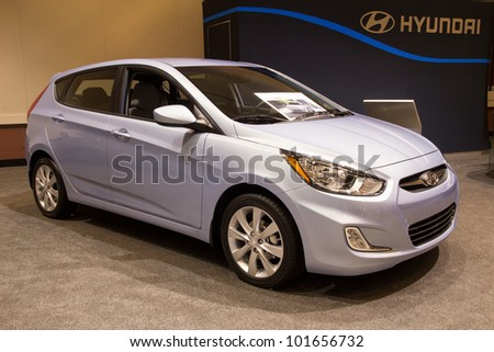 JACKSONVILLE, FLORIDA-FEBRUARY 18: A 2012 Hyundai Accent SE at the Jacksonville Car Show on February 18, 2012 in Jacksonville, Florida.