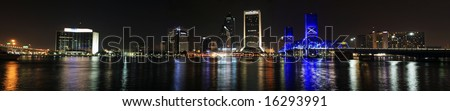 Jacksonville Florida Skyline as seen at night. Panorama - stock photo
