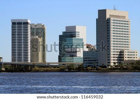 Jacksonville Florida Skyline, South bank, across the St Johns River - stock photo