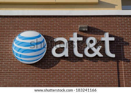 JACKSONVILLE, FLORIDA, USA - MARCH 9, 2013: An AT&T Mobility sign in Jacksonville. AT&T Mobility is the second largest wireless telecommunications provider in the United States and Puerto Rico. - stock photo