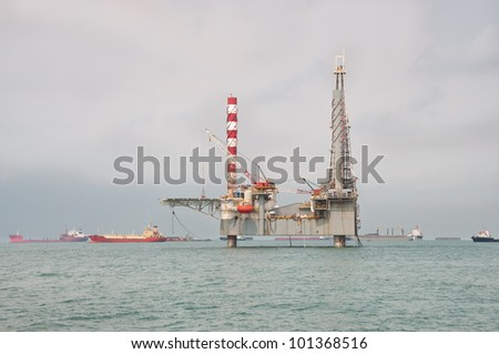 Jackup Drilling Unit - stock photo