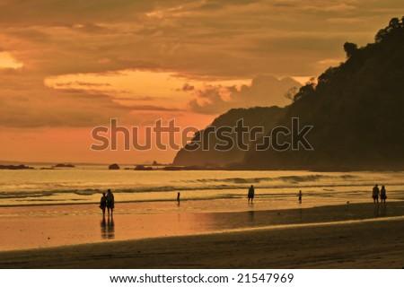 Jaco beach at orange time.