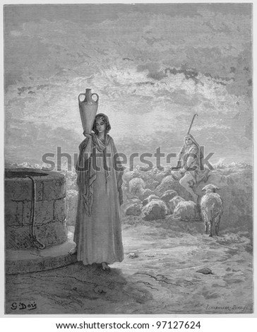 Jacob keeping Laban's flocks - Picture from The Holy Scriptures, Old and New Testaments books collection published in 1885, Stuttgart-Germany. Drawings by Gustave Dore. - stock photo