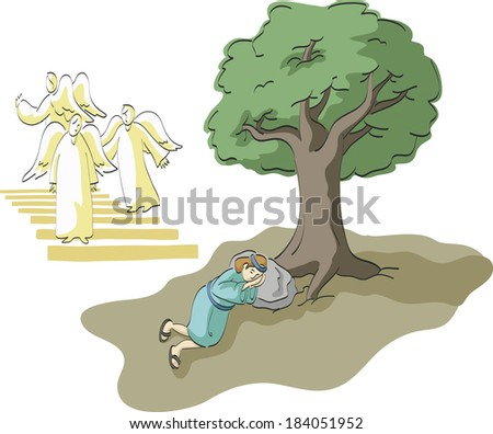 Jacob sleeping under a tree surrounded by angels