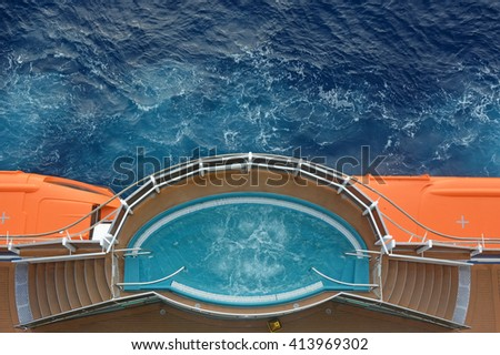 Jacuzzi on the cruise ship with ocean background - stock photo