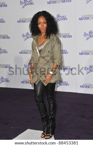"Jada Pinkett Smith at the Los Angeles premiere of ""Justin Bieber: Never Say Never"" at the Nokia Theatre LA Live. February 8, 2011  Los Angeles, CA Picture: Paul Smith / Featureflash - stock photo"