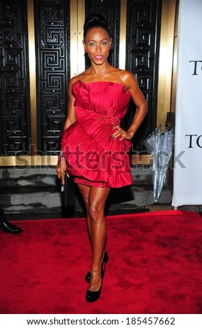 Jada Pinkett-Smith, in a Marchesa dress, at American Theatre Wing's 64th Annual Antoinette Perry Tony Awards ,Radio City Music Hall, New York June 13, 2010 - stock photo