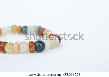 Jade Bracelet, jade jewelry Made of natural stone Believe that the prosperity of the wearer. - stock photo