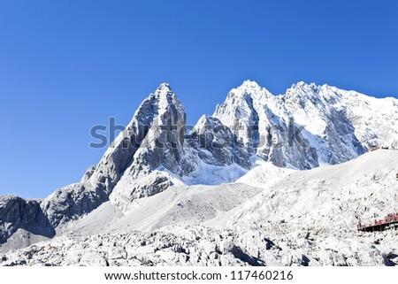 Jade Dragon Snow Mountain in Lijiang, Yunnan, China - stock photo