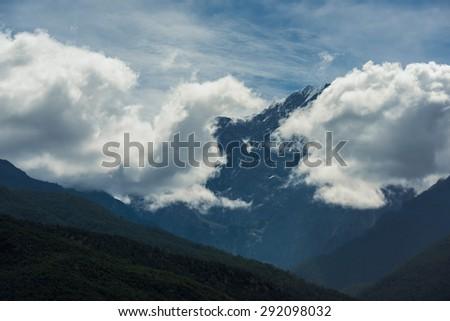 Jade Dragon snow mountain Lijiang city, Yunnan China - stock photo