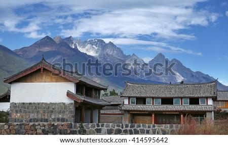 Jade dragon snow mountain lijiang yunnan china - stock photo