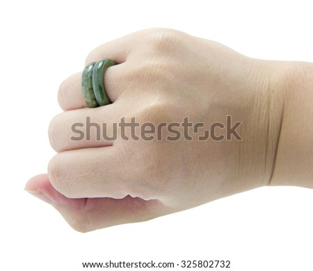 Jade ring isolated on white background