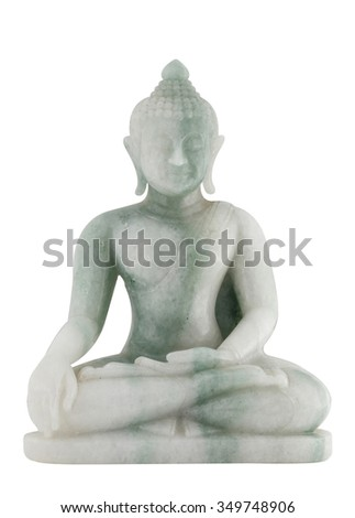Jade sculpture of buddha isolated on white background. - stock photo