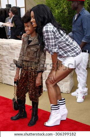 Jaden Smith and Ciara at the Los Angeles premiere of 'The Karate Kid' held at the Mann Village Theater in Westwood, USA on June 7, 2010. - stock photo