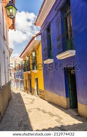 Jaen Street, the best preserved colonial street in La Paz, Bolivia - stock photo